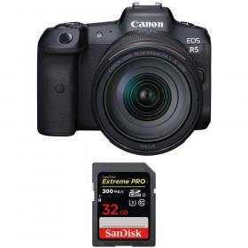 Appareil photo hybride Canon R5 + RF 24-105mm f/4L IS USM + SanDisk 32GB Extreme PRO UHS-II SDXC 300 MB/s