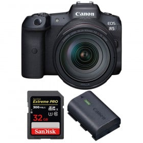 Appareil photo hybride Canon R5 + RF 24-105mm f/4L IS USM + SanDisk 32GB Extreme PRO UHS-II SDXC 300 MB/s + Canon LP-E6NH
