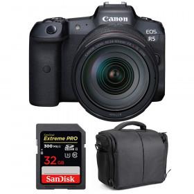 Appareil photo hybride Canon R5 + RF 24-105mm f/4L IS USM + SanDisk 32GB Extreme PRO UHS-II SDXC 300 MB/s + Sac