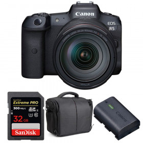Appareil photo hybride Canon R5 + RF 24-105mm f/4L IS USM + SanDisk 32GB UHS-II SDXC 300 MB/s + Canon LP-E6NH + Sac