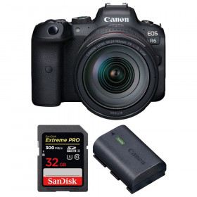 Canon EOS R6 + RF 24-105mm f/4L IS USM + SanDisk 32GB Extreme PRO UHS-II SDXC 300 MB/s + Canon LP-E6NH | 2 años de garantía