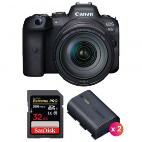 Canon EOS R6 + RF 24-105mm f/4L IS USM + SanDisk 32GB Extreme PRO UHS-II SDXC 300 MB/s + 2 Canon LP-E6NH | 2 años de garantía