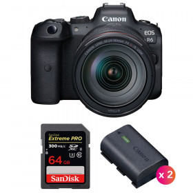 Canon EOS R6 + RF 24-105mm f/4L IS USM + SanDisk 64GB Extreme PRO UHS-II SDXC 300 MB/s + 2 Canon LP-E6NH | 2 años de garantía