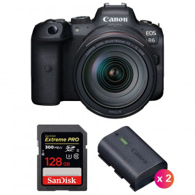 Canon EOS R6 + RF 24-105mm f/4L IS USM + SanDisk 128GB Extreme PRO UHS-II SDXC 300 MB/s + 2 Canon LP-E6NH | 2 años de garantía