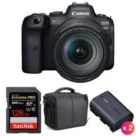 Canon EOS R6 + RF 24-105mm f/4L IS USM + SanDisk 128GB Extreme PRO UHS-II SDXC 300 MB/s + 2 LP-E6NH + Sac