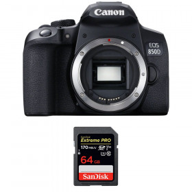 Canon EOS 850D Nu + SanDisk 64GB Extreme UHS-I SDXC 170 MB/s | Garantie 2 ans