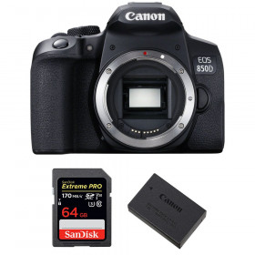 Canon EOS 850D Nu + SanDisk 64GB Extreme UHS-I SDXC 170 MB/s + Canon LP-E17 | Garantie 2 ans