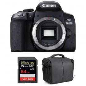 Canon EOS 850D Nu + SanDisk 64GB Extreme UHS-I SDXC 170 MB/s + Sac | Garantie 2 ans