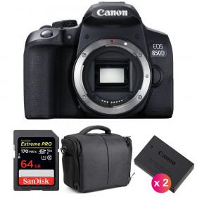 Canon EOS 850D Nu + SanDisk 64GB Extreme UHS-I SDXC 170 MB/s + 2 Canon LP-E17 + Sac | Garantie 2 ans
