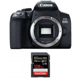 Canon EOS 850D Nu + SanDisk 128GB Extreme UHS-I SDXC 170 MB/s | Garantie 2 ans