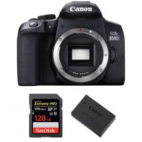 Canon EOS 850D Nu + SanDisk 128GB Extreme UHS-I SDXC 170 MB/s + Canon LP-E17 | Garantie 2 ans