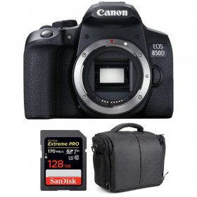Canon EOS 850D Nu + SanDisk 128GB Extreme UHS-I SDXC 170 MB/s + Sac | Garantie 2 ans