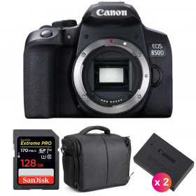 Canon EOS 850D Cuerpo + SanDisk 128GB Extreme UHS-I SDXC 170 MB/s + 2 Canon LP-E17 + Bolsa | 2 años de garantía