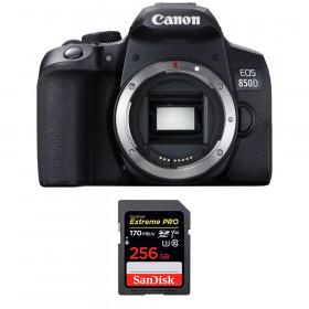 Canon EOS 850D Nu + SanDisk 256GB Extreme UHS-I SDXC 170 MB/s | Garantie 2 ans