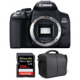 Canon EOS 850D Nu + SanDisk 256GB Extreme UHS-I SDXC 170 MB/s + Sac | Garantie 2 ans