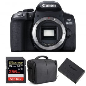 Canon EOS 850D Nu + SanDisk 256GB Extreme UHS-I SDXC 170 MB/s + Canon LP-E17 + Sac | Garantie 2 ans