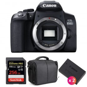 Canon EOS 850D Nu + SanDisk 256GB Extreme UHS-I SDXC 170 MB/s + 2 Canon LP-E17 + Sac | Garantie 2 ans