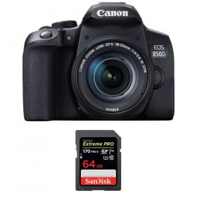 Canon EOS 850D + EF-S 18-55mm f/4-5.6 IS STM + SanDisk 64GB Extreme UHS-I SDXC 170 MB/s | Garantie 2 ans