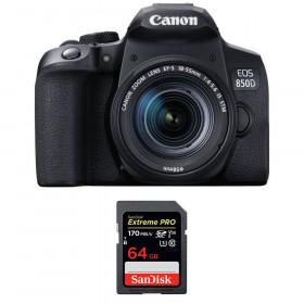 Canon EOS 850D + EF-S 18-55mm f/4-5.6 IS STM + SanDisk 64GB Extreme UHS-I SDXC 170 MB/s | 2 años de garantía