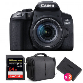 Canon EOS 850D + EF-S 18-55mm f/4-5.6 IS STM + SanDisk 64GB Extreme UHS-I SDXC 170 MB/s + 2 LP-E17 + Bag | 2 Years Warranty