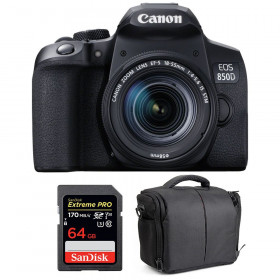 Canon EOS 850D + EF-S 18-55mm f/4-5.6 IS STM + SanDisk 64GB Extreme UHS-I SDXC 170 MB/s + Bag | 2 Years Warranty