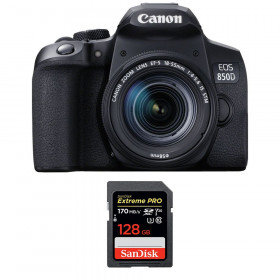 Canon EOS 850D + EF-S 18-55mm f/4-5.6 IS STM + SanDisk 128GB Extreme UHS-I SDXC 170 MB/s | 2 Years Warranty