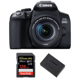 Canon EOS 850D + EF-S 18-55mm f/4-5.6 IS STM + SanDisk 128GB Extreme UHS-I SDXC 170 MB/s + Canon LP-E17 | 2 Years Warranty