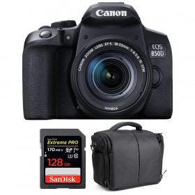 Canon EOS 850D + EF-S 18-55mm f/4-5.6 IS STM + SanDisk 128GB Extreme UHS-I SDXC 170 MB/s + Bag | 2 Years Warranty