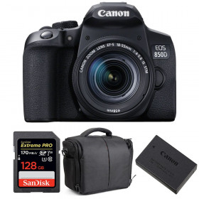 Canon EOS 850D + EF-S 18-55mm f/4-5.6 IS STM + SanDisk 128GB Extreme UHS-I SDXC 170 MB/s + LP-E17 + Bag | 2 Years Warranty