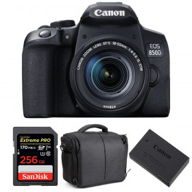 Canon EOS 850D + EF-S 18-55mm f/4-5.6 IS STM + SanDisk 256GB Extreme UHS-I SDXC 170 MB/s + LP-E17 + Bag | 2 Years Warranty