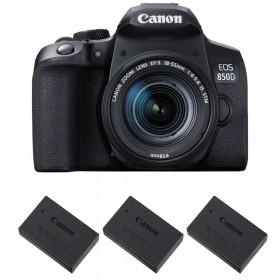 Canon EOS 850D + EF-S 18-55mm f/4-5.6 IS STM + 3 Canon LP-E17 | Garantie 2 ans