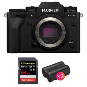 Fujifilm X-T4 Body Black + SanDisk 64GB UHS-I SDXC 170 MB/s + 2 Fujifilm NP-W235 | 2 Years Warranty