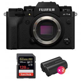 Fujifilm X-T4 Cuerpo Negro + SanDisk 128GB UHS-I SDXC 170 MB/s + 2 Fujifilm NP-W235