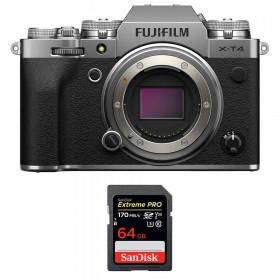 Fujifilm X-T4 Cuerpo Silver + SanDisk 64GB UHS-I SDXC 170 MB/s
