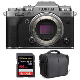 Fujifilm X-T4 Cuerpo Silver + SanDisk 64GB UHS-I SDXC 170 MB/s + Bolsa