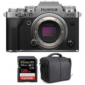 Fujifilm X-T4 Cuerpo Silver + SanDisk 128GB UHS-I SDXC 170 MB/s + Bolsa