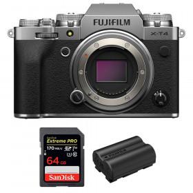 Fujifilm X-T4 Cuerpo Silver + SanDisk 64GB UHS-I SDXC 170 MB/s + Fujifilm NP-W235