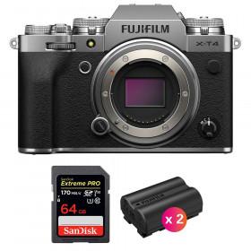Fujifilm X-T4 Cuerpo Silver + SanDisk 64GB UHS-I SDXC 170 MB/s + 2 Fujifilm NP-W235