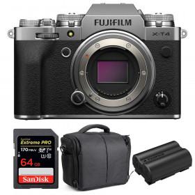 Fujifilm X-T4 Cuerpo Silver + SanDisk 64GB UHS-I SDXC 170 MB/s + Fujifilm NP-W235 + Bolsa