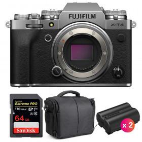 Fujifilm X-T4 Cuerpo Silver + SanDisk 64GB UHS-I SDXC 170 MB/s + 2 Fujifilm NP-W235 + Bolsa | 2 años de garantía