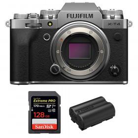 Fujifilm X-T4 Cuerpo Silver + SanDisk 128GB UHS-I SDXC 170 MB/s + Fujifilm NP-W235