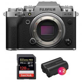 Fujifilm X-T4 Cuerpo Silver + SanDisk 128GB UHS-I SDXC 170 MB/s + 2 Fujifilm NP-W235 | 2 años de garantía