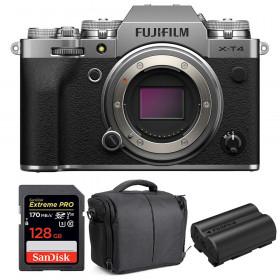 Fujifilm X-T4 Cuerpo Silver + SanDisk 128GB UHS-I SDXC 170 MB/s + Fujifilm NP-W235 + Bolsa