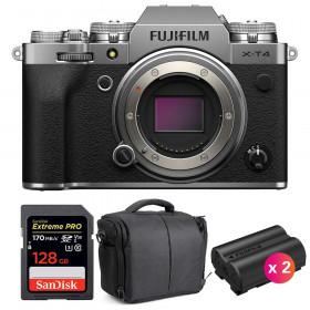 Fujifilm X-T4 Cuerpo Silver + SanDisk 128GB UHS-I SDXC 170 MB/s + 2 Fujifilm NP-W235 + Bolsa | 2 años de garantía