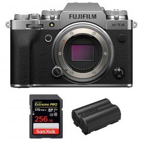 Fujifilm X-T4 Cuerpo Silver + SanDisk 256GB UHS-I SDXC 170 MB/s + Fujifilm NP-W235