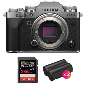 Fujifilm X-T4 Cuerpo Silver + SanDisk 256GB UHS-I SDXC 170 MB/s + 2 Fujifilm NP-W235 | 2 años de garantía