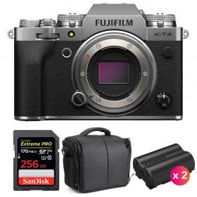 Fujifilm X-T4 Cuerpo Silver + SanDisk 256GB UHS-I SDXC 170 MB/s + 2 Fujifilm NP-W235 + Bolsa | 2 años de garantía