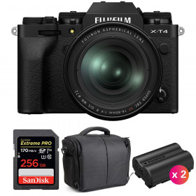Fujifilm X-T4 Black + XF 16-80mm f/4 R OIS WR + SanDisk 256GB UHS-I SDXC 170 MB/s + 2 NP-W235 + Bag | 2 Years Warranty
