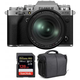 Fujifilm X-T4 Silver + XF 16-80mm f/4 R OIS WR + SanDisk 128GB UHS-I SDXC 170 MB/s + Bag | 2 Years Warranty