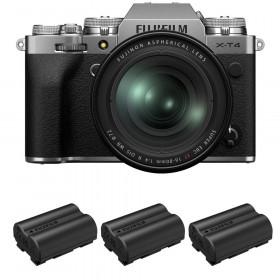 Fujifilm X-T4 Silver + XF 16-80mm f/4 R OIS WR + 3 Fujifilm NP-W235